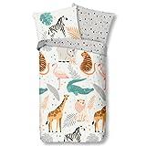 Aminata Kids Bettwäsche Tier-Motiv 135x200 Baumwolle - Kinder-Wende-Bettwäsche-Motiv-Set Jungen & Mädchen - Dschungel-Safari-Zoo-Tiere-Motiv mit Reißverschluss - Giraffe, Zebra, Tiger & Löwe