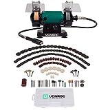 VONROC Doppelschleifer/Doppelschleifmaschine/Multifunktionswerkzeug 150W - 75mm mit flexibler Welle - Inkl. 192 Zubehörteile