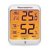 ThermoPro TP53 digitales Thermo-Hygrometer Thermometer Hygrometer Raumluftüberwachtung Temperatur und Luftfeuchtigkeitmessgerät mit Hintergrundbeleuchtung