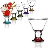 com-four® 6X Dessertschale, Bunte Eisbecher aus Glas für Eiscreme, Desserts und Obst, spülmaschinenfeste Dessertgläser (06-TLG Orion bunt)