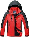 TACVASEN Herren Leichte Wasserdichte Softshell Jacke mit Abnehmbarer Kapuze, Rot, DE XXL