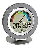 TFA Dostmann Cosy Thermo-Hygrometer digital, 30.5019.10, Höchst-und Tiefstwerte, Raumklimakontrolle, farbigen Komfortzonen, grau