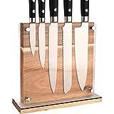 Amzeeniu Beidseitiger Messerhalter magnetisch aus Holz,Holz Messerblock mit Schutz aus Acryl,Messerblock quadratischer Küchenblock,25 x 9 x24 cm,Theke Küche Zubehör für Messer und Haushaltshelfer