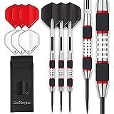RED DRAGON Evos: Steel Dartpfeile 24 Gramm Profi Steeldarts Set, 3 x Steel Darts mit Flights, Schäfte and Brieftasche