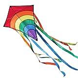 CIM Kinder-Drachen - Rainbow Eddy RED - Einleiner-Flugdrachen für Kinder ab 3 Jahren - 65x74cm - inkl. 80m Drachenschnur und 8x105cm Streifenschwänze