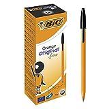 BIC Kugelschreiber Orange fine/ 20 Kulis in Schwarz – Strichstärke 0,35 mm - fein – Dokumentenecht