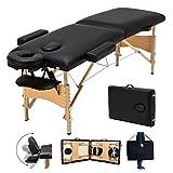 Massageliege Klappbar Höhenverstellbar Massagetisch Deluxe Professionelle kosmetikliegen Massagebett 2 Zonen tragbaren Holzfüßen Einfache Installation mit Tragetasche, Schwarz