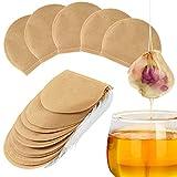 xingyijia0028 300 STÜCKE Teebeutel, Einweg-Teefilterbeutel Natürliches ungebleichtes Papier Tee-Ei Kordelzug Leere Teebeutel für losen Tee und Kaffee, rund