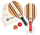two46 Beachball Set - Frescobol | Der Trendsport aus Brasilien - Handgefertigte Schläger aus Holz (inkl. Anfängerball & Tasche)