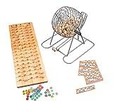 Engelhart - Bingo-Spiel mit Metallkorb + Holzbrett 90 Kugeln / System 15 aus 90 - 360567
