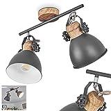 Deckenstrahler Banjul, industrielle Deckenlampe aus Metall in grau/holzoptik, 2 x E27 max. 40 Watt, 2-flammig, Ø Schirm 15 cm, Höhe 26,5 cm, für LED Leuchtmittel geeignet, beliebig dreh-/schwenkbar
