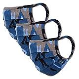 Facetex 3er-Pack Mundschutz Kinder Junge & Mädchen waschbar, camouflage blau   aus 100% Baumwolle Oeko-TEX 100 Standard Earloop-Design   wiederverwendbare Behelfs-Maske, Mund und Nasenschutz   Ab 10