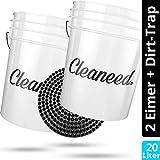 Cleaneed Premium Autowasch-Set 2X Wascheimer [20 Liter] + Dirt Guard (Schmutz-Filter) – Extra robuste & langlebige Profi Detailing Buckets – 2 Eimer-Wäsche, Autowäsche
