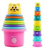 PHYLES 9-teiliges Stapelbecher Kinder Stapelturm Stapelwürfel Baby Sandspielzeug zum Sortieren und Stapelspiel Pädagogisches Baby Spielzeug ab 6 Monaten