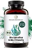 MAISON NATURELLE® Bio Spirulina & Chlorella Mix Presslinge (500 Stück) - Hochdosiert mit 2400mg Bio Spirulina Alge & 2400mg Bio Chlorella Alge je Tagesdosis – chlorella spirulina bio tabletten