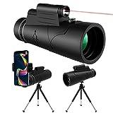 12x50 HD Monokular Teleskop mit Nachtsicht LED Red Torch Light,KNMY Wasserdichtes Monokular mit Telefonhalter Stativkompass für Handy Vogelbeobachtung Camping Jagd Wandern Sightseeing