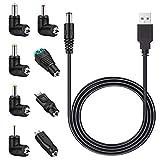 MEROM 5V Universal Netzkabel USB zu DC Kable mit 8 Stecker (5.5mm * 2.5mm, 4.8mm * 1.7mm, 4.0mm * 1.7mm, 3.5mm * 1.35mm, 2.5mm * 0.7mm, Micro USB, Type C, Universalstecker)