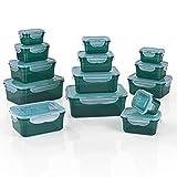 GOURMETmaxx Frischhaltedosen klick-it 14er Set   Spülmaschinen- Mikrowellen- und Gefrierschrankgeeignet   Deckel BPA-frei mit 4-Fach-klick-Verschluss   Ineinander stapelbar [4 Größen, smaragdgrün]