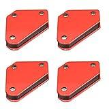 qipuneky 4er Set Schweissmagnet, Schweißen Magnethalter, 45 °, 90 °, 135 °, Kraft 4 kg (Rot)