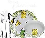 WMF Set Safari, Taufgeschenke, Geschenke zur Taufe, Namensgravur, Kinderbesteck mit Gravur Namen 6-teilig, Edelstahl