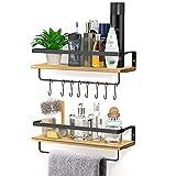 Yosemy Schwebend Wandregal Holz, Wandregal Küche, Badezimmer Regal, Regal Wand mit 2 Handtuchhalter und 8 Bewegliche Haken Rustikale Aufbewahrungsregale, 2 Stücke