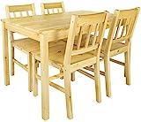 Leomark Tisch und 4 Stühlen Kiefer, Essgruppe - Natur PINIE - Komplett Esstisch Naturholz, Holz Esszimmergruppe für Küche, Esszimmergarnitur für 4 Personen