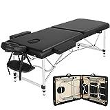 Yaheetech Massageliege Klappbar Massagetisch Alu Massagebett mit 2 Zonen Massagestuhl höhenverstellbar mit Tragetasche, belastbar bis 250kg schwarz ca. 213x92x67-87,5 cm