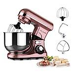 Küchenmaschine Roségold 600W, 3 Hauptfunktionen (kneten, mixen, schneebesen), 4L Edelstahlschüssel,7 Geschwindigkeiten mit LED Anzeige, Knetmaschine, Mixer Küchenmaschine, Teigmaschine, Standmixer
