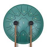 13 Tone 12 Zoll Zungentrommel Ätherische Trommel Stahl Zunge Schlagzeuger Scheibentrommel Percussion Instrument mit Trommelschlägeln Tragetasche Note Sticks für Meditation Yoga Zazen Klangheilung