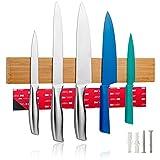 LARHN Messerhalter Magnetisch Holz inkl. Klebeband - 40cm/15.7in – Magnetleiste Selbstklebend für Messer, Utensilien und Werkzeuge