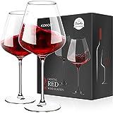 Kollea Rotweinglaser 2er Set, Handgeblasen Rotweingläser   Weißweinglas Weingläser Set, Moderne Rotweingläser Wine Glass mit 2 Grußkarten, Geschenke für Geburtstag, Jubiläum, Hochzeit - 675 ML