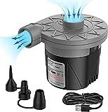 Tooltoo Elektrische Luftpumpe Electric Air Pump USB Luftmatratze Pumpe für Luftmatratze Floßbett Boot Pool Spielzeug Kinderpool Planschbecken 3 Luftdüse Elektropumpe - 2021 Neueste