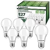 E27 LED Lampe, 9W 800 Lumen LED Lampe Ersatz für 60W Halogen, 3000K Warmweiß, A60 Leuchtmittel, 220-240V AC, 6 Stück