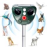 TLICLXY Katzenschreck Ultraschall Solar Abwehr mit LED- Blinken und 2 Lademodi,Katzenschreck für Garten,Tiervertreiber Gegen Katzen, Hunde, Waschbär usw,Wasserdichter,5 Einstellbare Frequenz