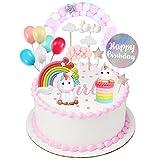 Einhorn Tortendeko Geburtstag Kuchen kinder Einhorn Kuchen Topper 9er Set einschließlich Regenbogen, Ballon, Einhorn, Happy Birthday, Wolke, Sterne, Stern Hairball Bogen für Kinder Mädchen Junge