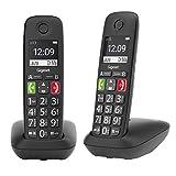 Gigaset E290 Duo - 2 Schnurlose Senioren-Telefone ohne Anrufbeantworter - großen Tasten, großes Display, Zielwahltasten für wichtige Nummern, Verstärker-Funktion für extra lautes Hören, schwarz