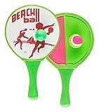 Idena 7408444 - 2 in 1 Beachball und Klettball im Set, mit 2 Schlägern und 2 verschiedenen Bällen, ideal im Sommer für Garten, Park oder Strand