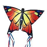 CIM Leichtwind Schmetterling Drachen - Butterfly ORANGE - Einleiner Flugdrachen für Kinder ab 3 Jahren - 58x40cm - inkl. 20m Drachenschnur - fertig aufgebaut - Sofort flugbereit