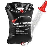 VABNEER Camping Duschtasche 20L Solar Duschtasche mit abnehmbarem Schlauch und EIN- und ausschaltbarem Duschkopf und schwarzer Kordelzug zum Strandschwimmen im Freien Wandern (schwarz, 20L)