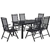 ArtLife Aluminium Gartengarnitur Milano   Gartenmöbel Set mit Tisch und 6 Stühlen   dunkel-grau mit schwarzer Kunstfaser   Alu Sitzgruppe Balkonmöbel