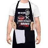 upain Grillschürze für Männer Lustig Schürze Kochschürze Baumwoll Küchenschürze Verstellbarem Nackenband Zwei Fronttaschen für Herren Papa Opa-Bin am Grillen! Keine Tipps! Bier bringen ABGANG