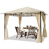 TOOLPORT Gartenpavillon 3x3 m wasserdicht Pavillon mit 4 Seitenteilen Gartenzelt ca. 180g/m² Dachplane in Creme Partyzelt