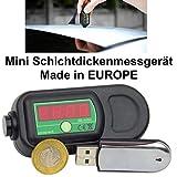 Auto Mini Lackschichten Messgerät Lackmesser Schichtdickenmessgerät Anzeige Messung an Stahlblechen, verzinktem Stahl und Aluminiumblechen Made in EuRoPe