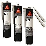 Sikaflex-221 witterungsbeständiger Haftstarker Dichtstoff, 300ml, WEISS, 3 Set mit 5 Düsensptizen