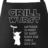 MoonWorks Grill-Schürze für Männer mit Spruch Grill Wurst Aufpassen du musst, die Wurst Schon eine dunkle Seite hat Küchenschürze schwarz Unisize