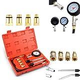 PowerTools Kompressionstester-Set, Benzin Motor Kompressionsprüfer 0-20 bar oder 0-300 psi Verdichtungsmesser, Meßgerät Drucktester für KFZ Motorrad Benzin Tester