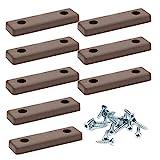 8 x Bodenabstandshalter/Möbelpads/Möbelfüsse zum Anschrauben | sossai® MG2 | Farbe: Braun | Größe: 50x14x5 mm | Inkl. Schrauben
