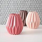 mucplants 3er Set Vasen rosa Höhe ca.13cm Dekovasen Blumenvasen Tischvasen Steingut Blumen
