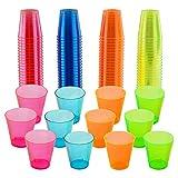 matana - 300 Mehrweg Neon Party Schnapsgläser aus Plastik (30 ml)