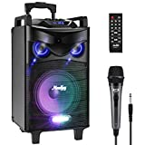 Tragbares Bluetooth Karaoke Lautsprecher System 120 W, Moukey PA Anlage mit 8 Zoll Subwoofer, DJ Lights TWS-Funktion, kabelgebundenes Mikrofon, Aufnahmefähigkeit, MP3/USB/TF/FM Radio-MTs8-1
